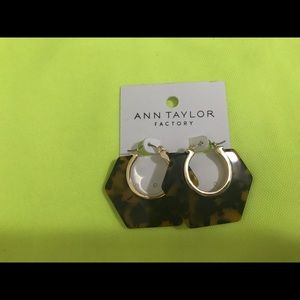 Ann Taylor Faux Tortoise Hoop Earrings x Pierced